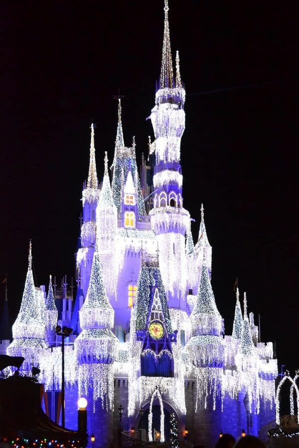 Holiday Twinkle Lights on Cinderella Castle