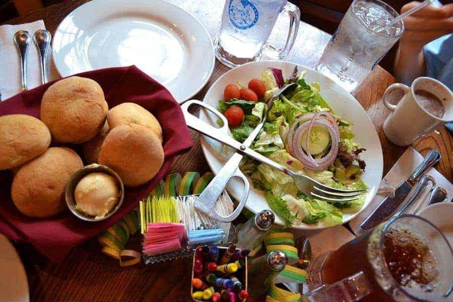 Salad and bread at Liberty Tree