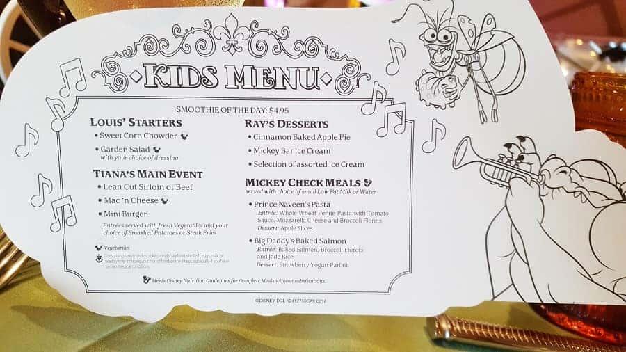Tiana's Place kids menu