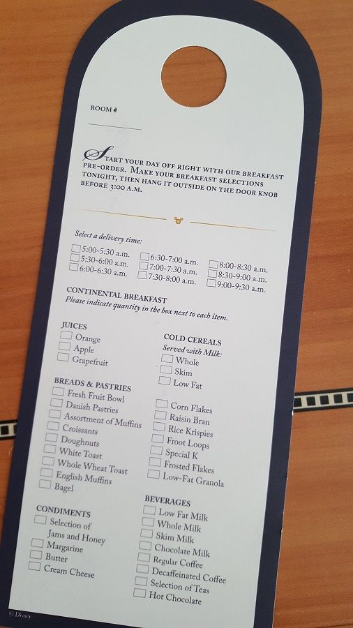 Free Disney Cruise Room Service Menu Available Disney