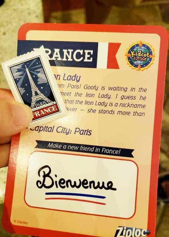 Kidcot Epcot France Card