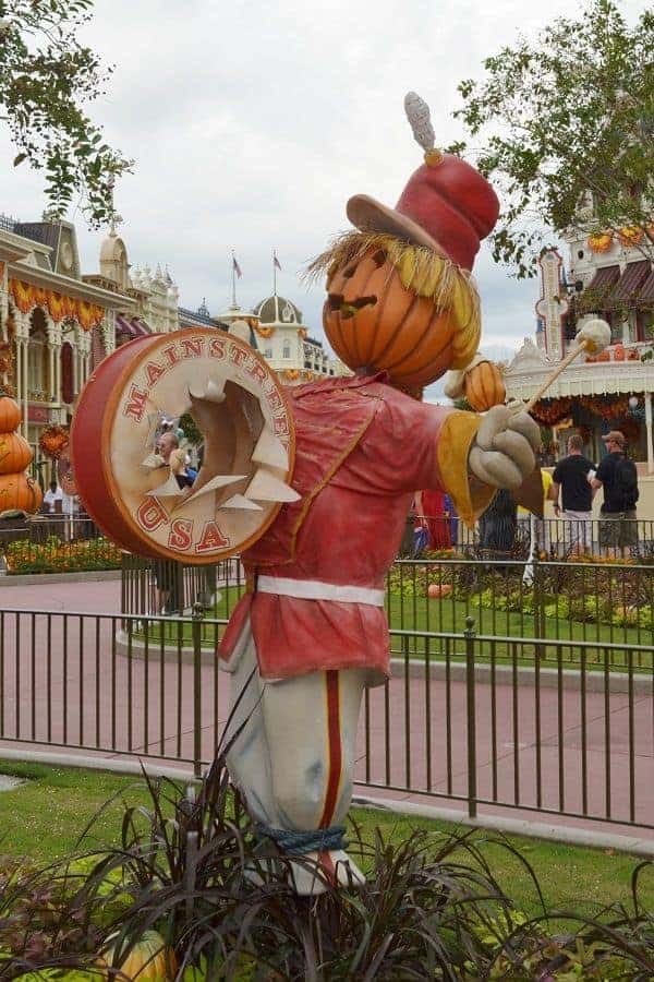 Scarecrows in Magic Kingdom at Halloween
