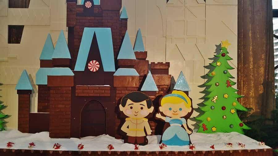 Contemporary Resort at Christmas has a Cinderella Gingerbread Display