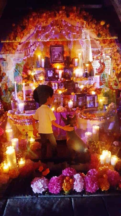 Ofrenda scene where Miguel begins to learn about his ancestors
