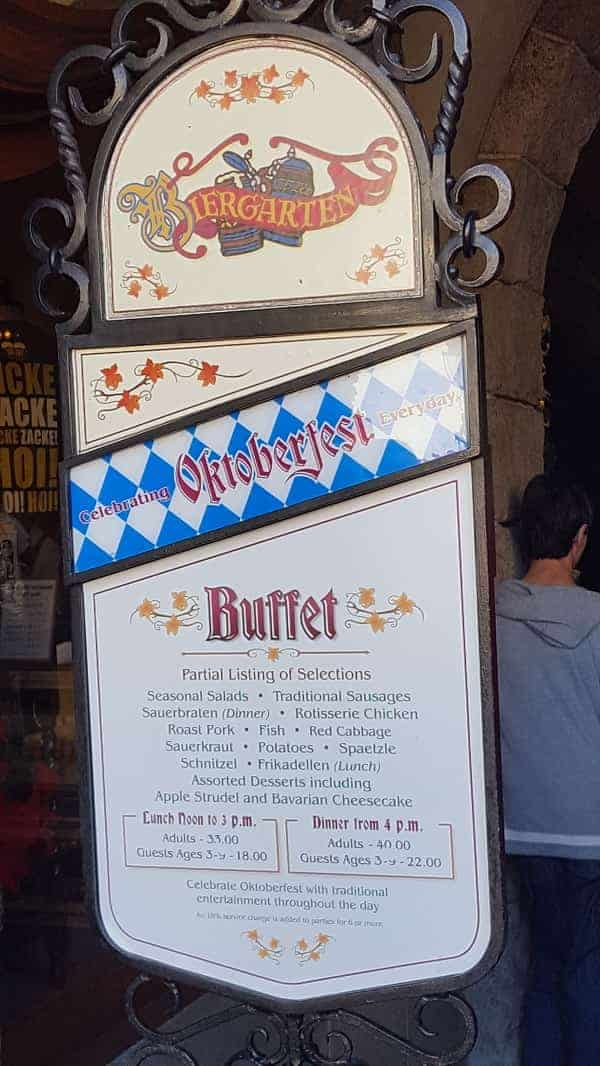 Lunch & Dinner at Biergarten Epcot Price List