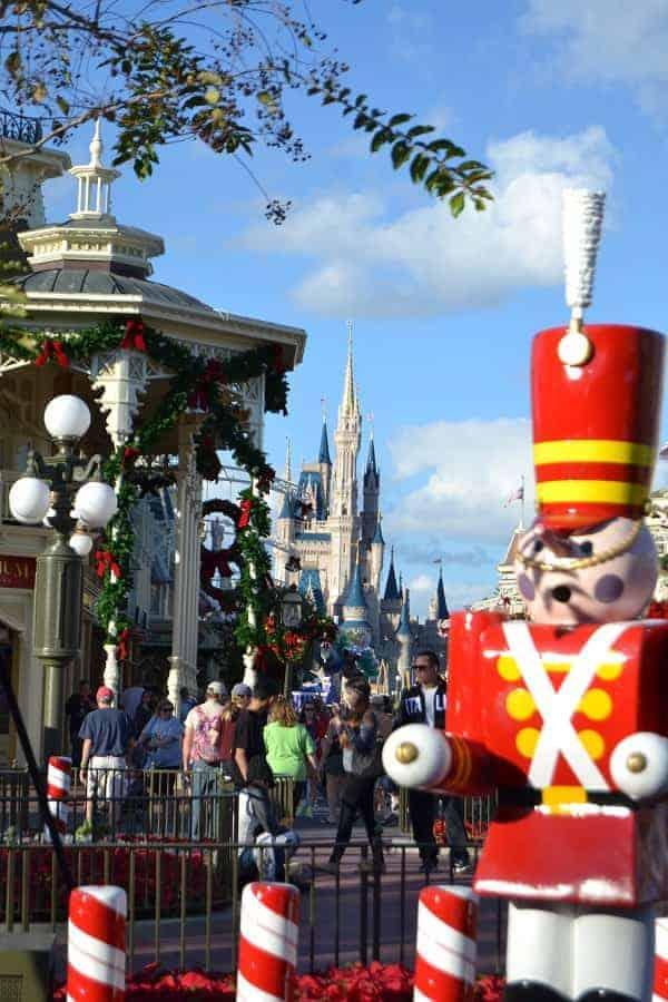 Disney Christmas decor in Magic Kingdom