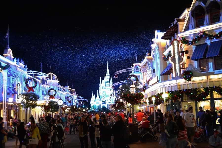 Snow on Main Street USA in Magic Kingdom