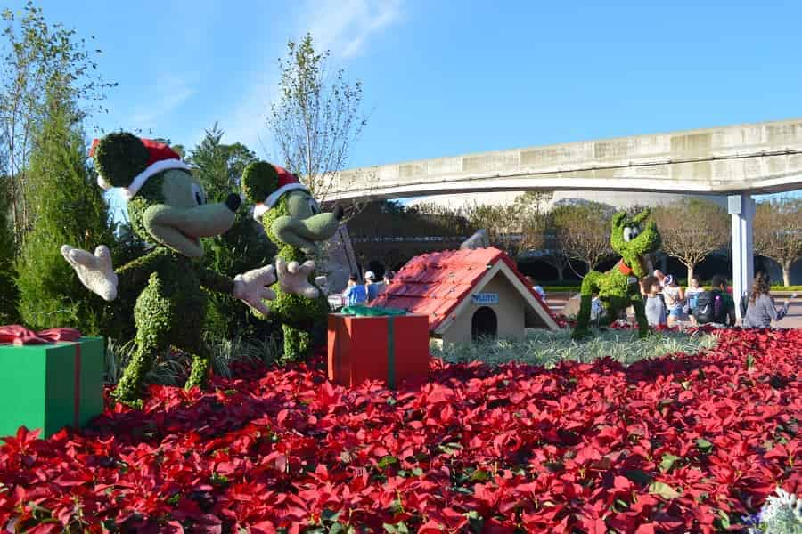 Epcot Park Christmas Decorations