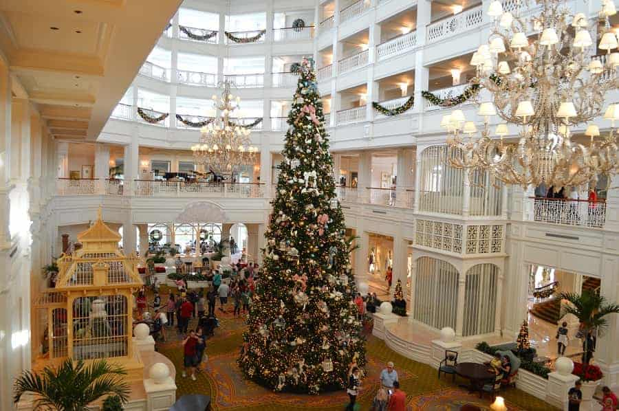 Lobby of Grand Floridian at Christmas