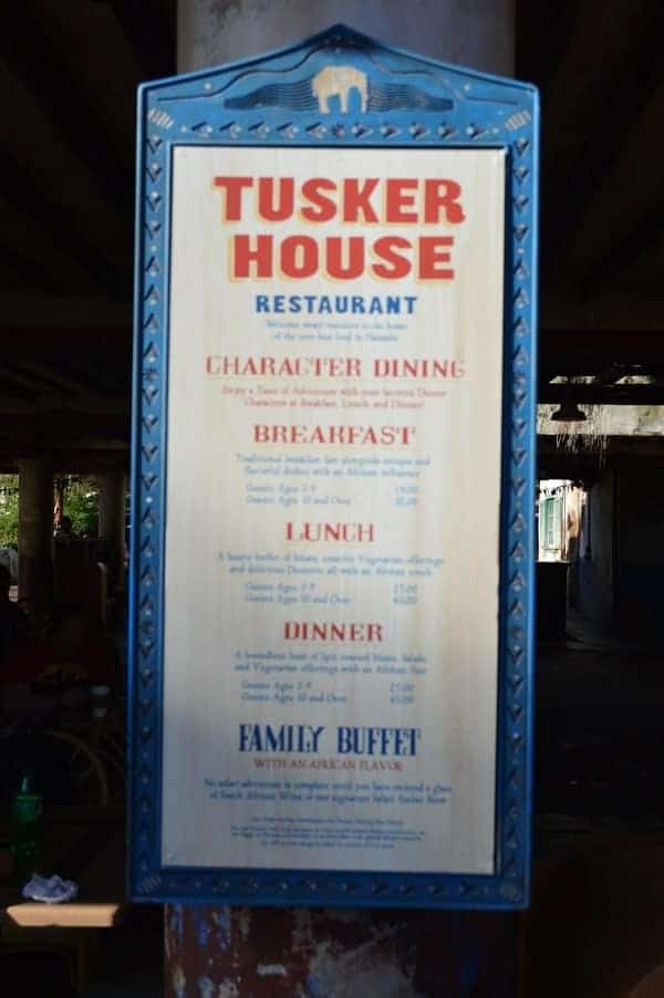 Tusker House Price for Meals