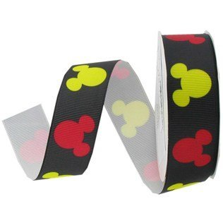 """1"""" Red & Yellow Mickey Mouse Heads on Black Ribbon From TheCraftyCrocodile"""