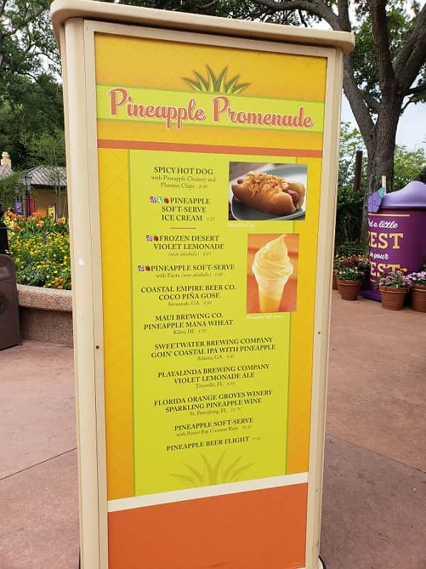 Pineapple Promenade Menu with Dole Whip