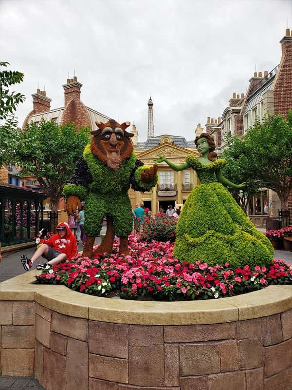 Beauty and the Beast Topiary in Epcot