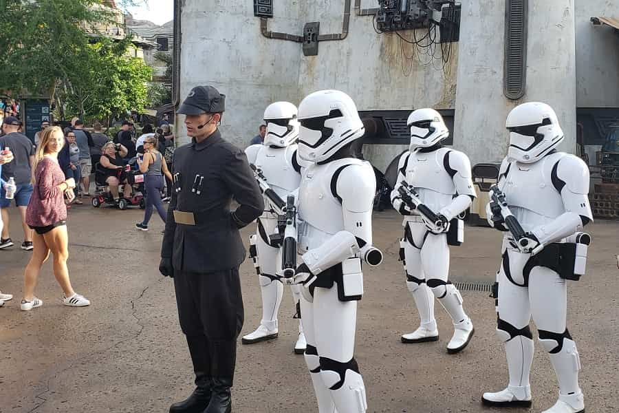 Stormtroopers walk through Galaxy's Edge