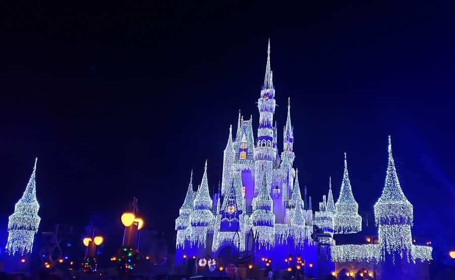 Cinderella Castle Twinkles with Lights