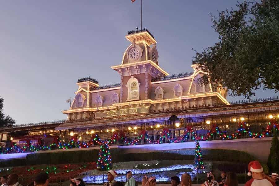 Train Station at Magic Kingdom Lit up for Christmas