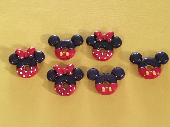 Lot of 6 Mickey Donut Magnets