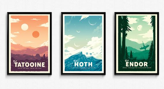 Star Wars Retro Travel Posters