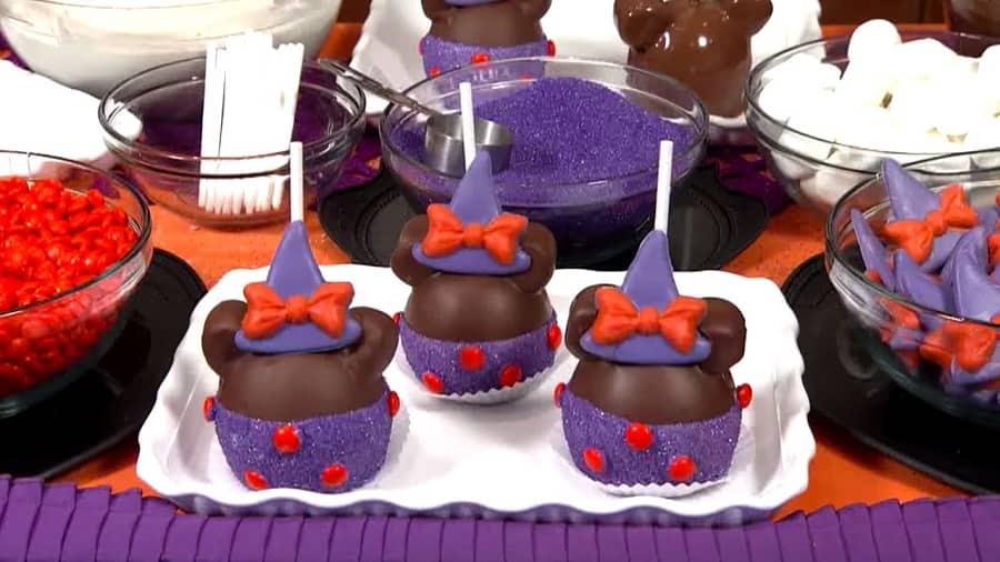 Minnie Mouse Witch Halloween Candy Apples